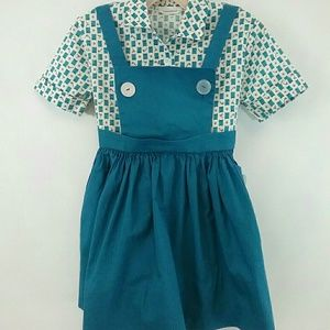 Vtg Girl's Golf Theme Cotton Pinafore Dress Blue